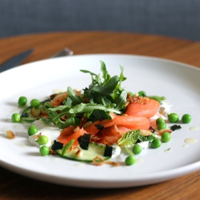 Cold Smoked Ocean Trout + Peas with Minty CrèmeFraiche