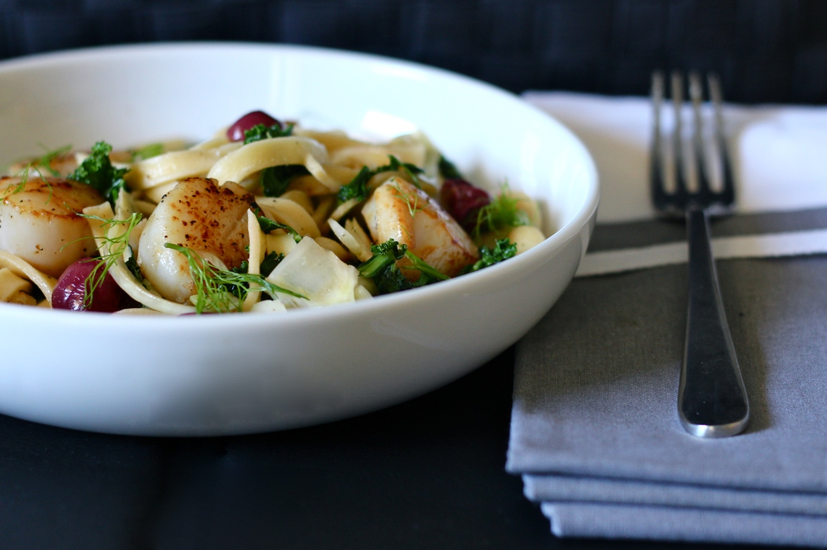 Scallop + Fennel Fettuccine with Roasted Grapes, Kale + Macadamia Nuts