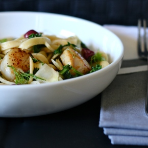 Scallop + Fennel Fettuccine with Roasted Grapes, Kale + MacadamiaNuts