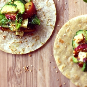 Grilled Nectarine + Haloumi Soft Shell Tacos with Mint +Dukkah