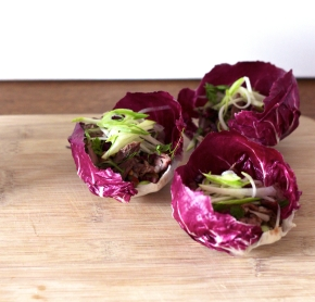 Crispy Duck, Walnut + Pear Radicchio Cups