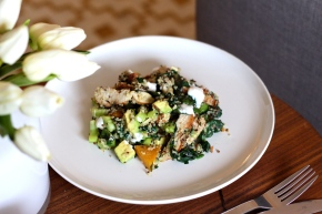 Chicken, Roast Pumpkin + Greens with Tri-Coloured Quinoa, Yoghurt Dressing