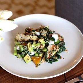 Chicken, Roast Pumpkin + Greens with Tri-Coloured Quinoa, YoghurtDressing