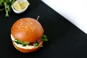 The Seagull Burger – Fish, Citrus, Hot Coconut Mayo + Rocket with Brioche