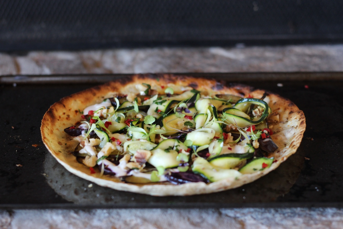 Roasted Eggplant, Chilli + Purple Carrot Pizza with Sweet Tahini + Pickled Zucchini