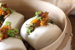 Sticky Pumpkin + Quinoa Steamed Buns with Avocado, Pistachio + Celery Leaves