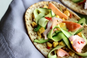 Smoked Salmon, Corn + Zucchini Open-faced Pitas