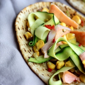 Smoked Salmon, Corn + Zucchini Open-facedPitas