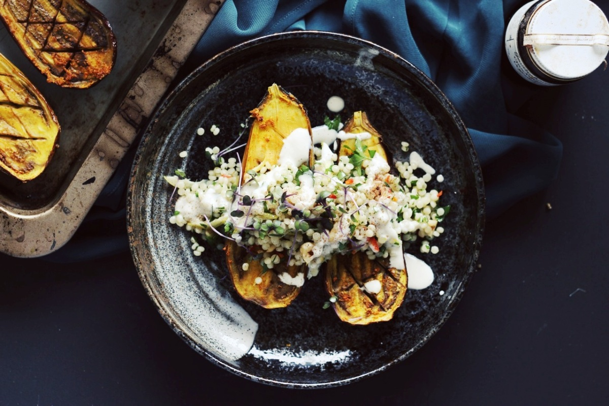 Turmeric-Spiced Eggplant with Israeli Couscous