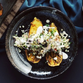 Turmeric-Spiced Eggplant with IsraeliCouscous