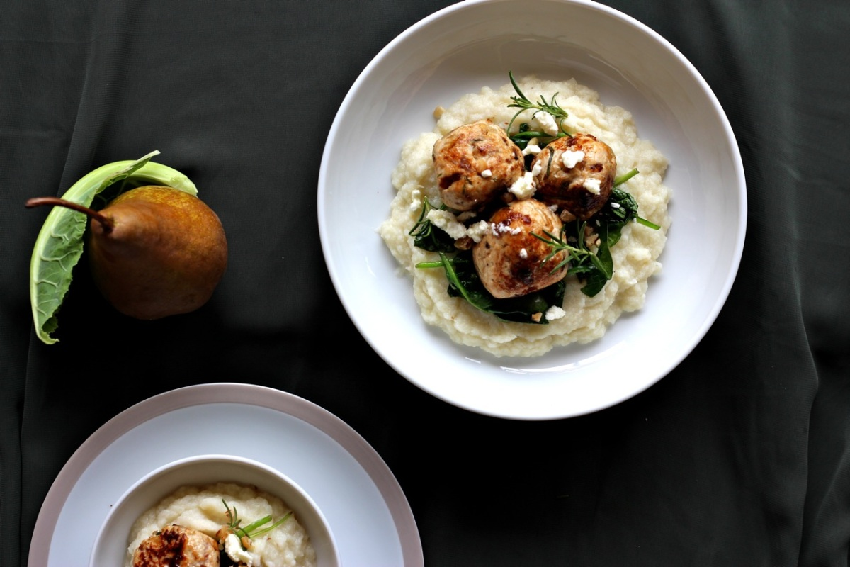 Chicken, Date + Rosemary Balls on Pear + Parsnip Mash