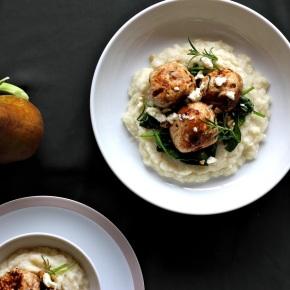 Chicken, Date + Rosemary Balls on Pear + ParsnipMash