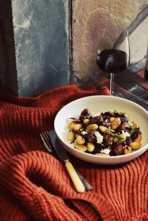 Gnocchi with Beef and Basil Sausage, Radicchio +Ricotta