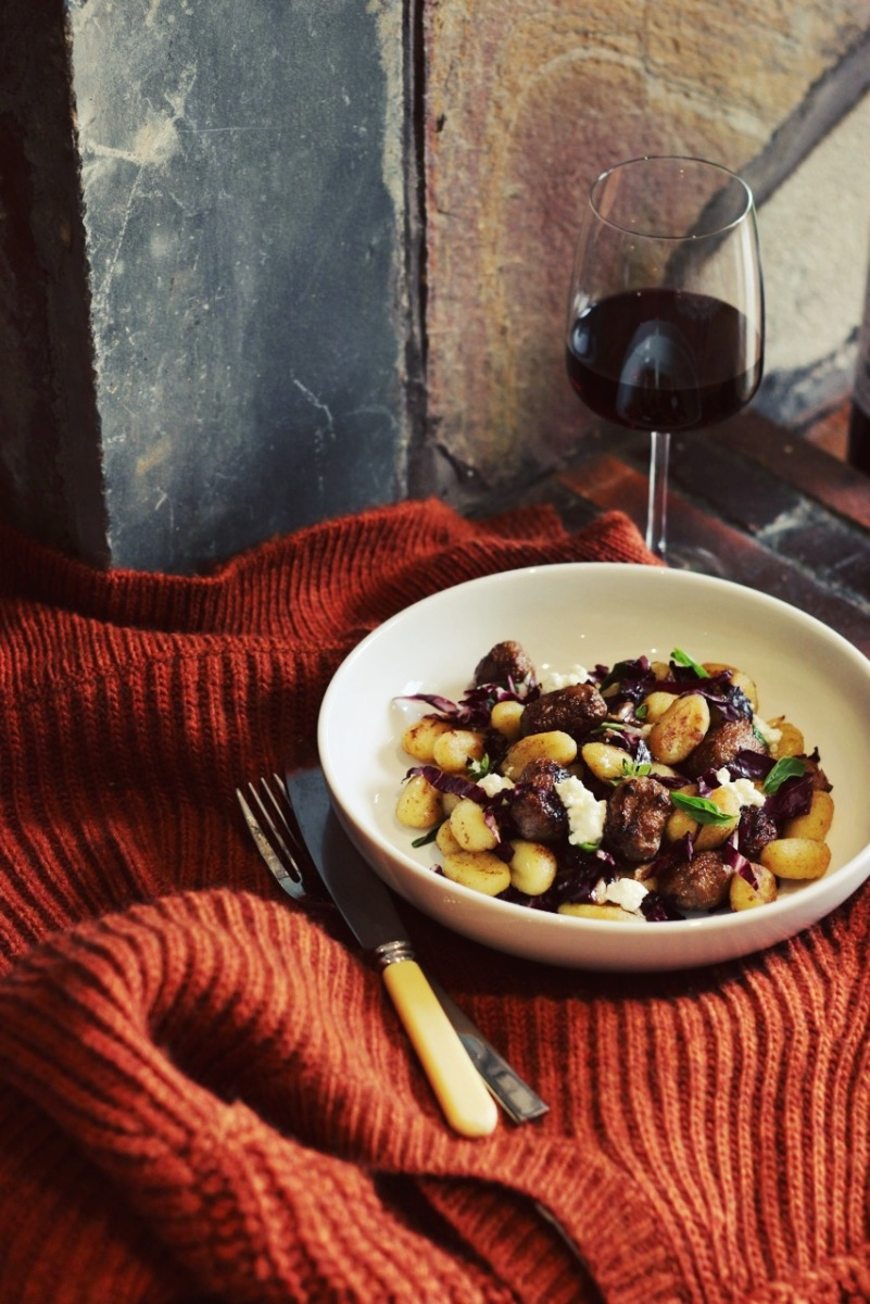Gnocchi with Beef and Basil Sausage, Radicchio + Ricotta