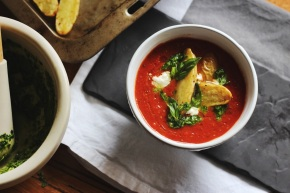Tomato Soup with Roast Kipfler Potatoes + Kale Pesto