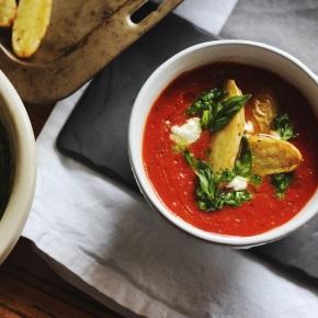 Tomato Soup with Roast Kipfler Potatoes + KalePesto