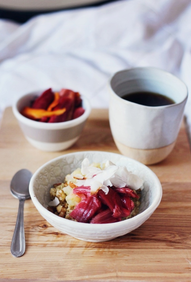 Quinoa Porridge with Almond Milk, Rhubarb, Apple, Nuts and Coconut