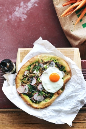 Beer-braised Bunny + Pesto Pizza