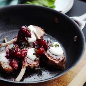 Lamb Chops with Chunky Plum Sauce + CrèmeFraiche