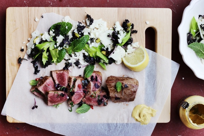 Lamb with Cauliflower, Mint, Kale + Pistachio Salad