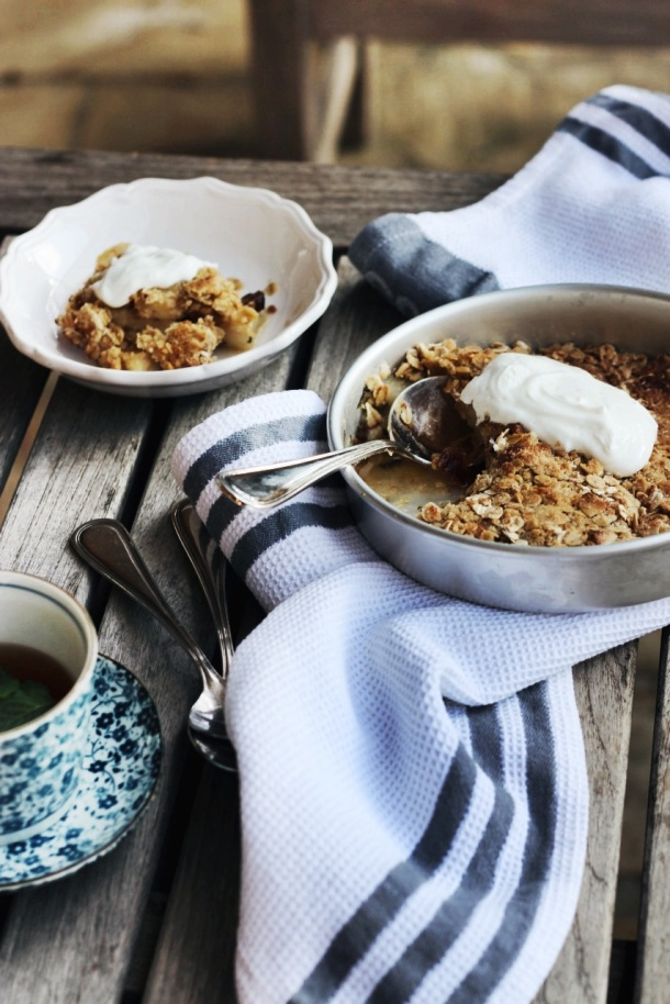 Pear, Mint and Ginger Crumble - Finger, Fork & Knife