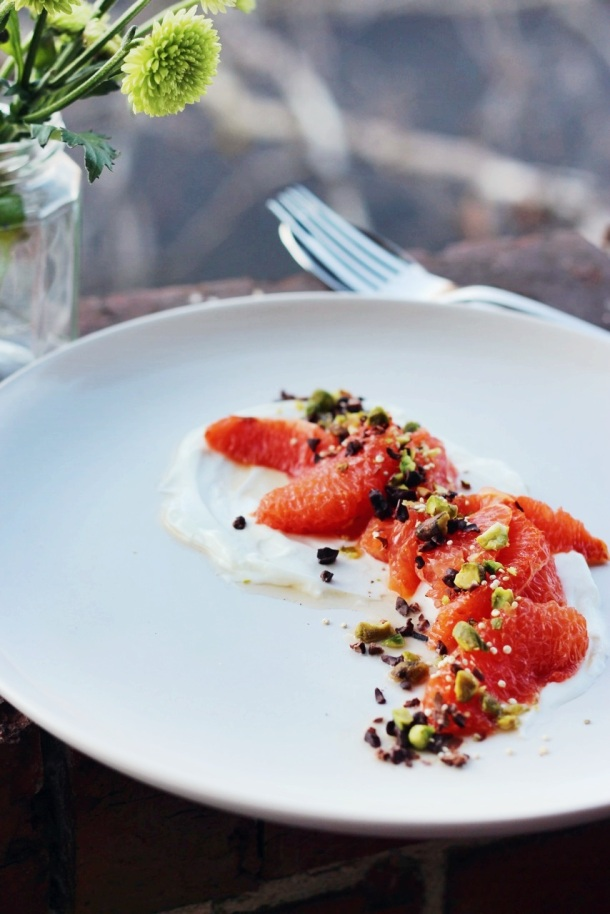 Honey-Grilled Grapefruit with Yoghurt, Pistachios + Cacao Nibs