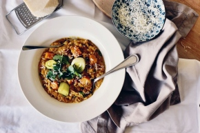 Pumpkin + Pancetta Brown Rice Risotto with Water Buffalo Yoghurt