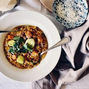 Pumpkin + Pancetta Brown Rice Risotto with Water BuffaloYoghurt