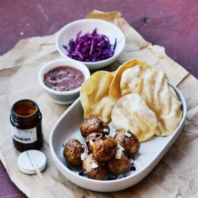 Sticky Bombay Meatballs with Purple Cabbage Slaw +Poppadoms