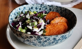 Super Sweet Potato Salad with Sesame Yoghurt Dressing