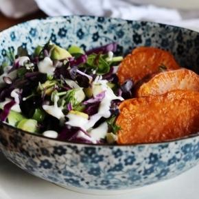 Super Sweet Potato Salad with Sesame YoghurtDressing