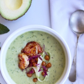 Chilled Avocado, Mint + Cucumber Soup with Prawns +Chickpeas