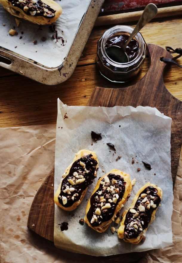 Dark Chocolate + Peanut Caramel 'SNICKERS' Éclairs Finger, Fork & Knife