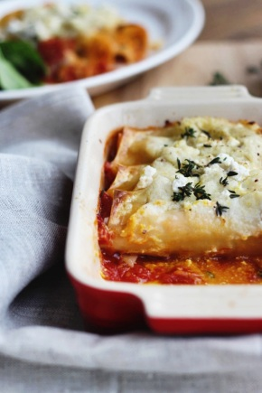 Roast Pumpkin, Spinach + Ricotta Cannelloni with Cauliflower Sauce