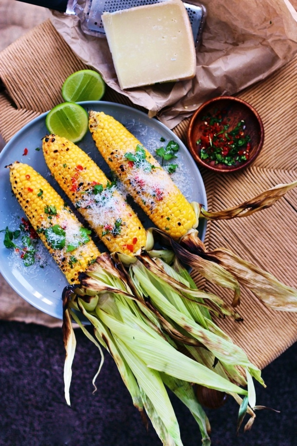 Grilled Corn with Truffle Oil, Chilli + Parmesan fingerforkknife.com