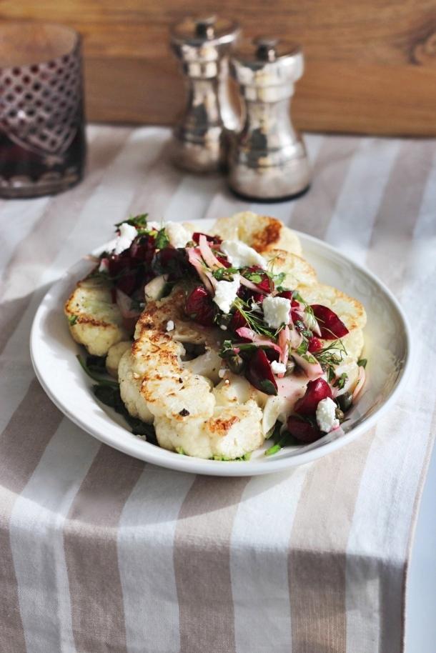 Cauliflower Steaks with Cherry, Fennel + Caper Slaw fingerforkknife.com