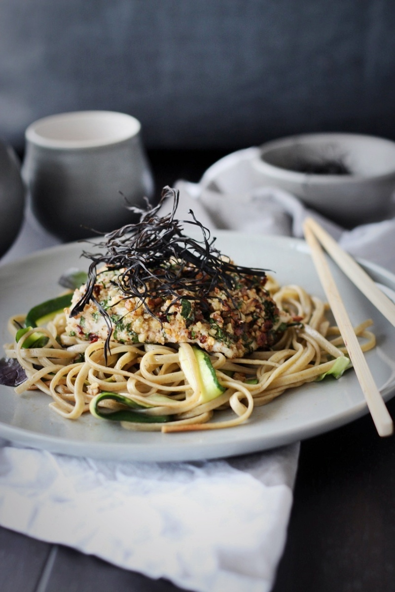Walnut-Crusted Barramundi with Noodles