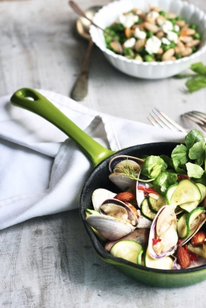 Champagne Clams with Chilli, Almonds + Zucchini
