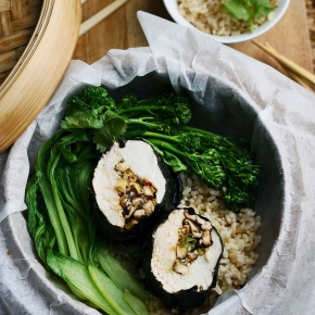 Steamed Nori Chicken with Tamari + GingerMushrooms