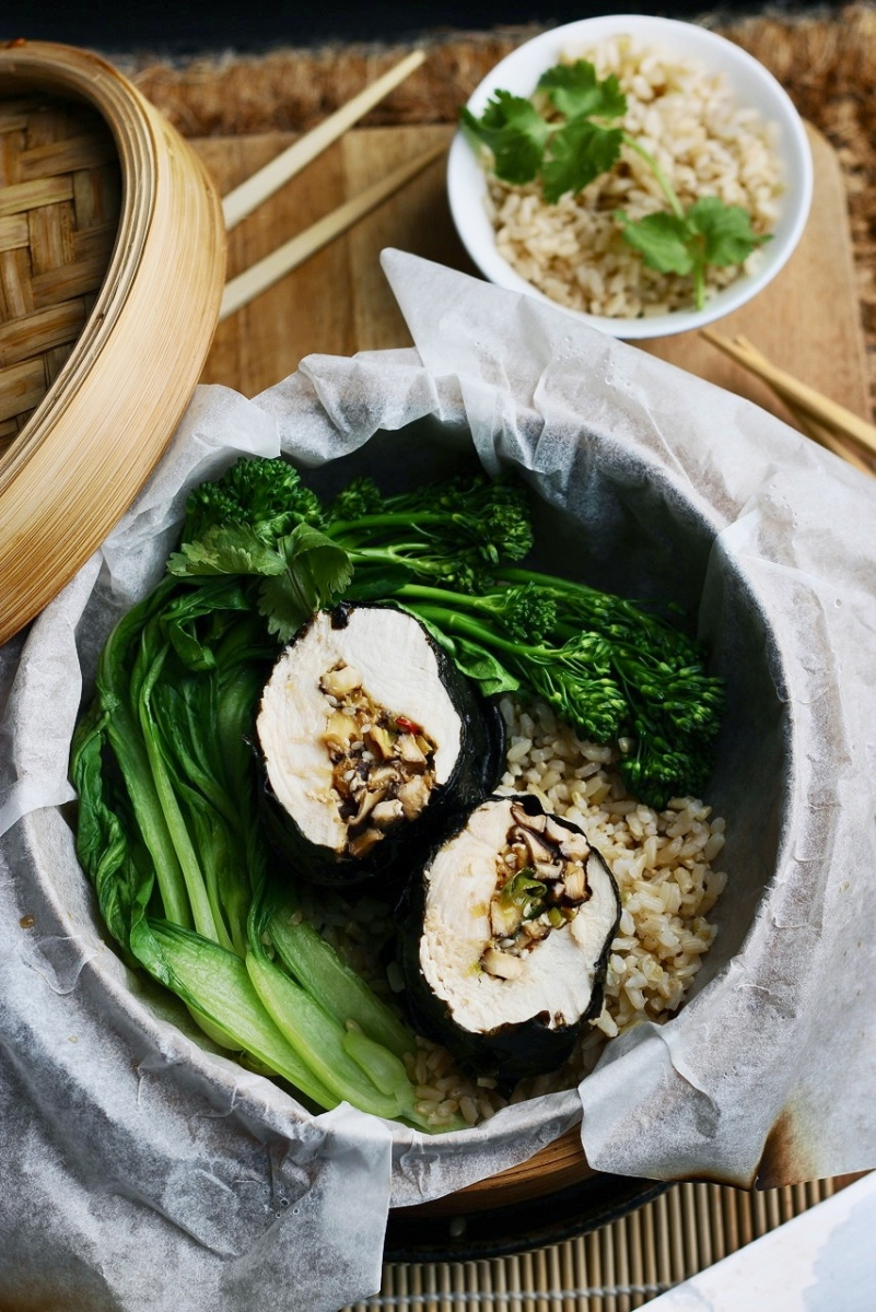 Steamed Nori Chicken with Tamari + Ginger Mushrooms
