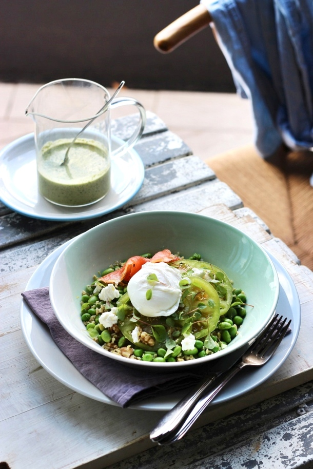 Pea, Edamame + Green Tomato Freekeh with Smoked Salmon + Poached Egg www.fingerforkknife.com