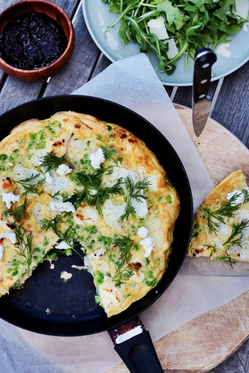 Cauliflower, Goat's Cheese + Smashed Pea Frittata