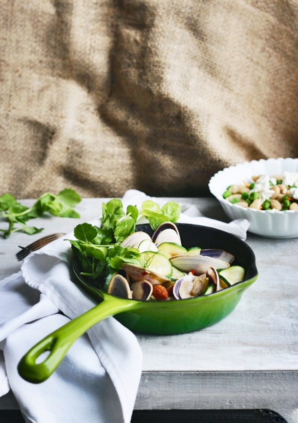 Champagne Clams with Chilli, Zucchini + Almonds www.fingerforkknife.com