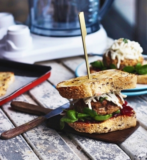 Crispy Duck Sandwich with Lemon Daikon Rémoulade + Beetroot Relish