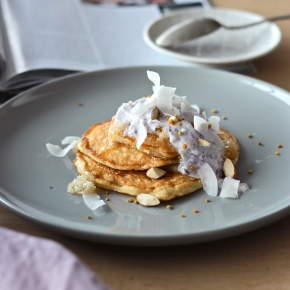 Easy Clean Pancakes with Blueberry Yoghurt, Coconut + BeePollen