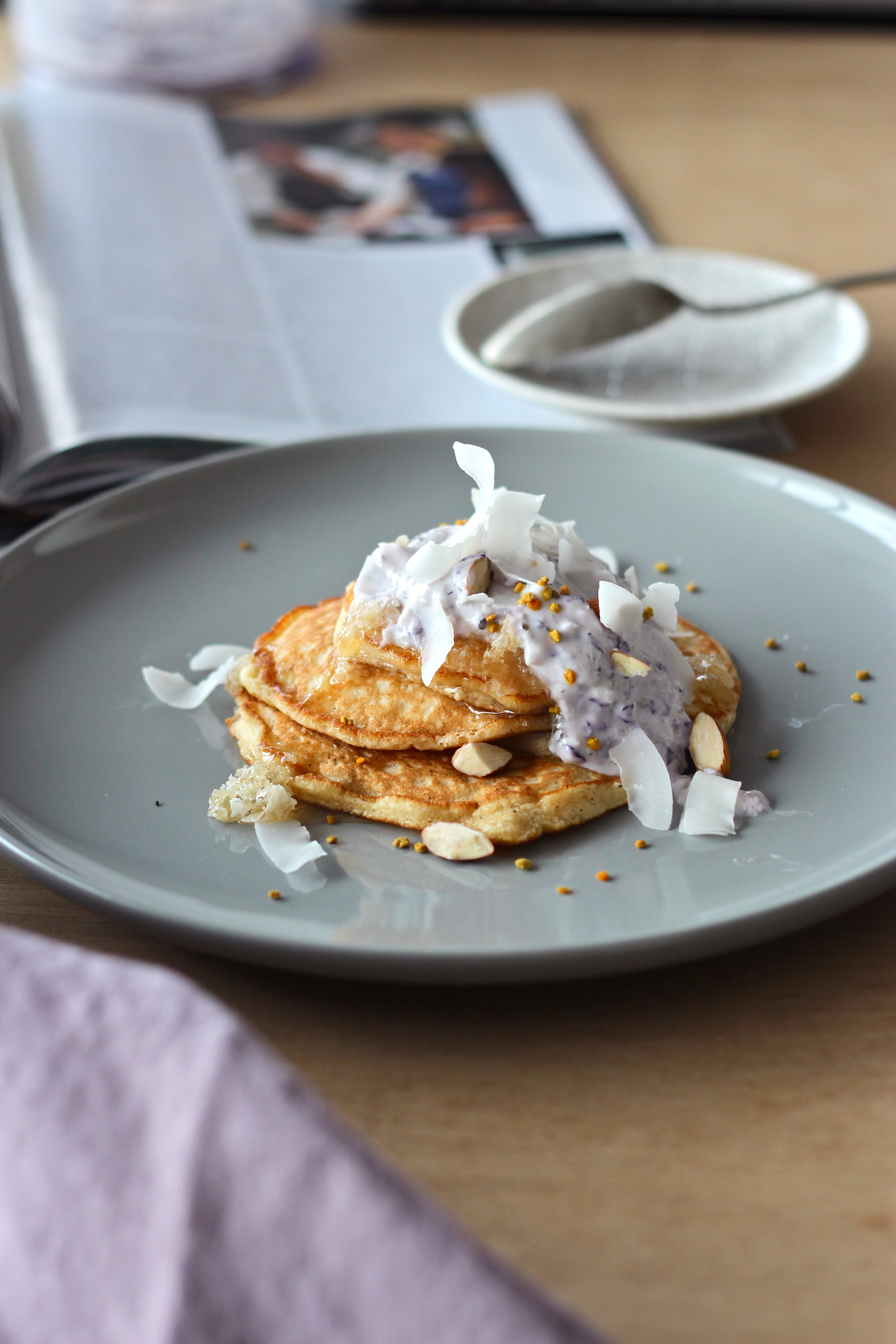 Clean Pancakes with Blueberry Yoghurt, Coconut + Bee Pollen www.fingerforkknife.com