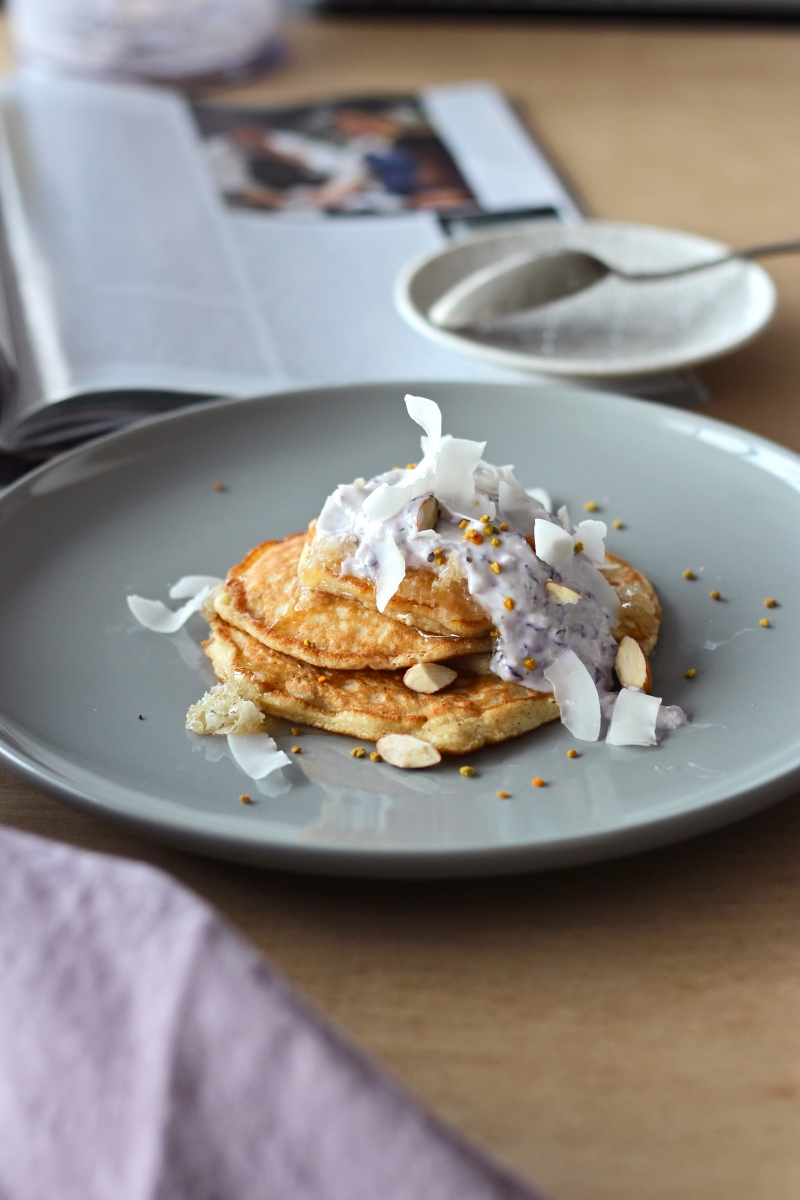Easy Clean Pancakes with Blueberry Yoghurt, Coconut + Bee Pollen