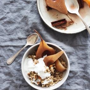 Pearl Barley + Almond Milk Porridge with Spiced PoachedPears
