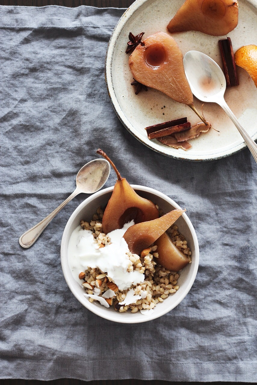 Pearl Barley + Almond Milk Porridge with Spiced Poached Pears