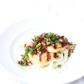 Honey + Thyme Marinated Halloumi with Pickled Fennel + a Pomegranate, PistachioSalsa